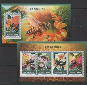 TG035 2016 TOGO FLORA & FAUNA INSECTS HONEY BEES ABEILLES KB+BL MNH