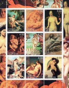Tajikistan 2000 Nudes Ptgs by Boucher/Durer/Titian/Bouguereau Sheetlet (9) MNH