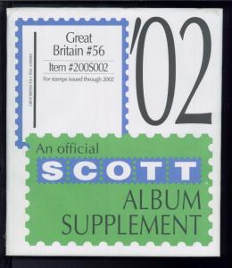 2002 Great Britain #56 Scott Stamp Album Supplement Pages Item #200S002