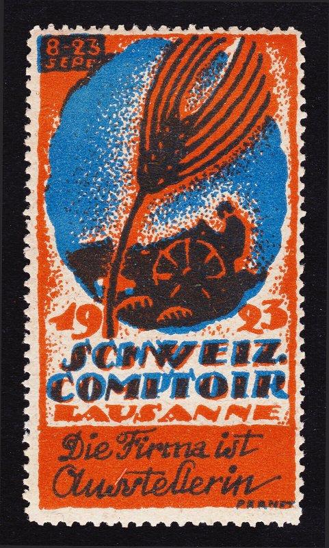 REKLAMEMARKE SWITZERLAND POSTER STAMP 1923 SCHWEIZ COMPTOIR FAIR LAUSANNE