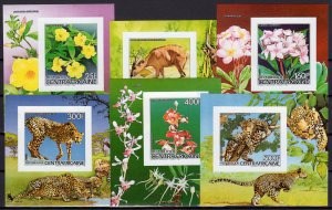 Central African 1986 Sc#824/829 Flora and Fauna 6 Souvenir Sheets IMPERF. MNH