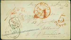 London 1850 Albany NY Transatlantic Mail Cover USA British Packet Boston 75933