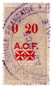 (I.B) France Colonial Revenue : West Africa AOF (Quittances) 20c on 10c OP