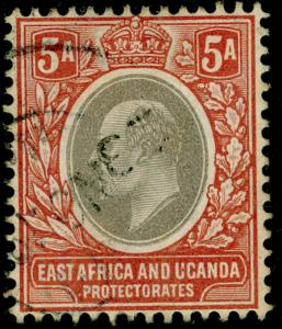 KENYA UGANDA TANGANYIKA SG24, 5a grey&orange-brwn, USED. Cat £15. WMK MULT CA.