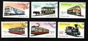 Philippines-Sc#1731A-F-used set-Trains-Locomotives-1984-