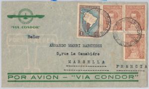 ARGENTINA - postal history - AIRMAIL COVER  Via condor to FRANCE - 10.03.1937