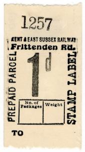 (I.B) Kent & East Sussex Railway : Prepaid Parcel 1d (Frittenden Road)