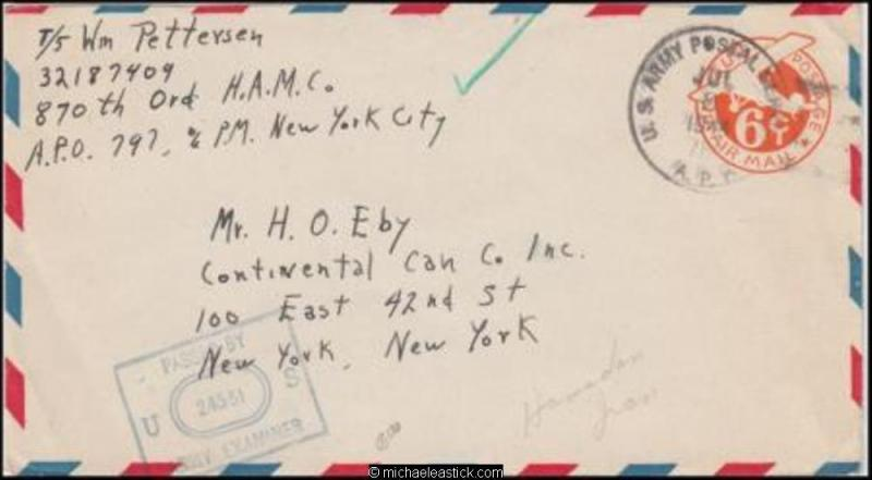 1ran 1944 (Jul) Censored WWII Air Mail Military Cover to New York USA