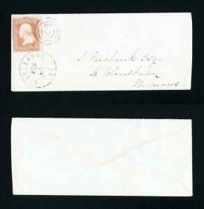 # 65 on cover from Middlebury, Vermont to St. Johnsburg, Vermont dated 2-1-1865