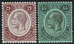 STRAITS SETTLEMENTS 1912 KGV 21C AND 45C WMK MULTI CROWN CA