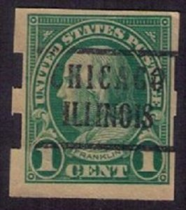 US Scott #575 Franklin 1 Cent Precancel (1923) Schermack Type III F-VF Error