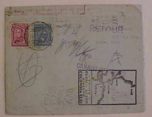 COLOMBIA  SCADTA LOCAL POST on FIRST FLIGHT COVER 1931 JUNE 15 B/S USA