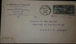 O) 1934 UNITED STATES-USA, MAP OF US AND TWO MAIL PLANES SC C7 10c, AIRMAIL TO N