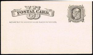 US STAMP BOB #UX7 1C BLACK 1881 POSTAL CARD UNUSED