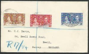 GAMBIA 1937 Coronation - Registered FDC to UK..............................56955