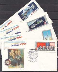 Russia, Scott cat. 4338-4341. Apollo-Soyuz issue on 4 First day covers. ^