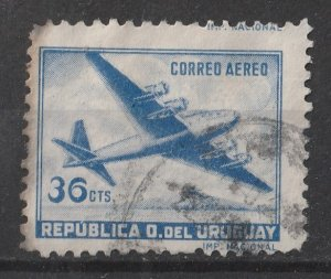 Uruguay 1952/1959 Air Mail / four motored Plane 36c (1/20) USED