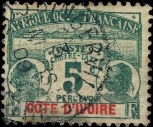 CÔTE-D'IVOIRE - 1909 - 5c TAXE (ÉMISSION PALMIERS) OBLITÉRÉ DE BINGERVILLE