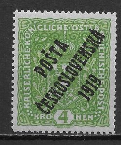 Czechoslovakia B20 4k Overprint single MH (lib) (z5)