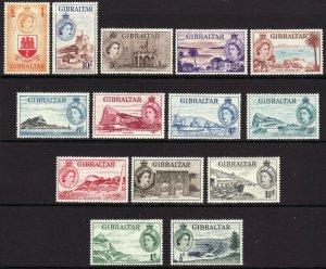 1953 Gibraltar QE portrait type complete MVVLH set (14) Sc# 132 / 145