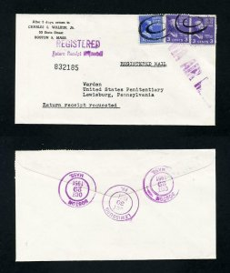 # 830 Registered cover Boston, MA to Warden, Lewisburg, PA - 10-29-1951