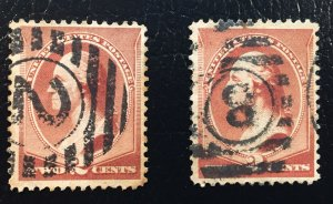 US #210 Used 2 stamps