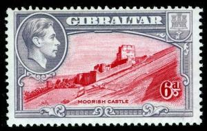 GIBRALTAR SG126, 6d carmine & grey-violet PERF 13½, M MINT. Cat £48.