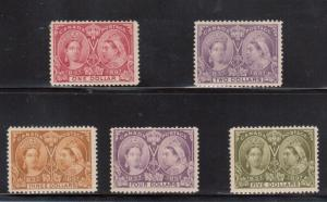 Canada #61 - #65 VF Mint Fresh Set Of High Value Jubilees