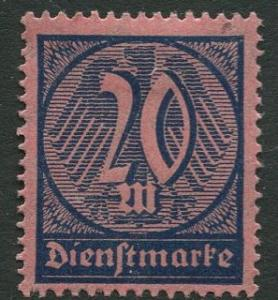 GERMANY. - Scott O19 - Officials -1922 - MLH  - Single 20m Stamp