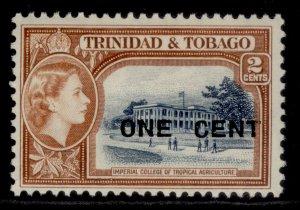 TRINIDAD & TOBAGO QEII SG280, 1c on 2c indigo & orange-brown, M MINT.