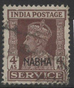 INDIA-NABHA SGO64 1942 4a BROWN USED