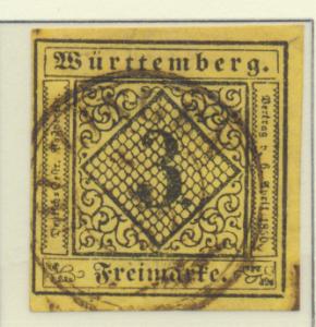 Wurttemberg Stamp Scott #2, Used - Free U.S. Shipping, Free Worldwide Shippin...