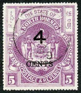 North Borneo SG123 4c on Five Dollars Bright Purple
