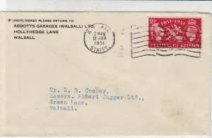G.B. 1951 From Abbotts Garages Walsall Ltd Hollyhedge Lane Stamps Cover Rf 33310