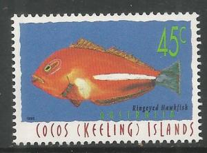 COCOS ISLANDS  307  MINT HINGED,  RINGEYED HAWKFISH