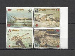 G1243 1990 BANGLADESH WWF REPTILES CROCODILES #323-6 MICHEL 8,5 EURO MNH