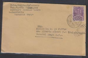O) 1937 MEXICO, CIRCULATED COVER OPA, RAILROAD CANCELLATION,