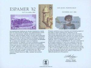 ESPAMER '82 SOUVENIR CARD - PUERTO RICO