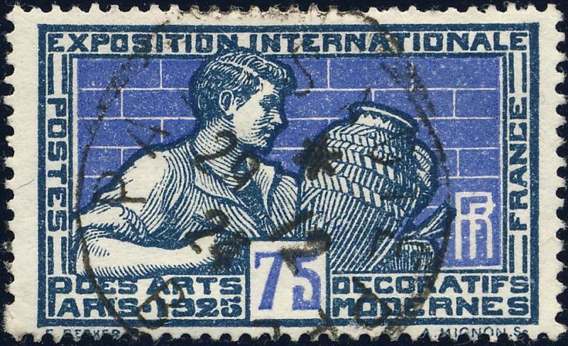 FRANCE 1925 CàD Ambulant Nuit t.III  PARIS À DIEPPE / B  sur n°214 75c Potier