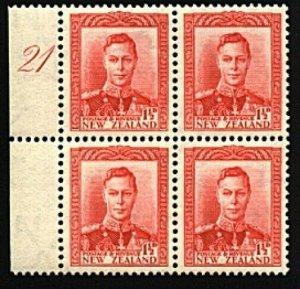NEW ZEALAND GVI 1½d red plate block # 21 left margin MNH...................98594