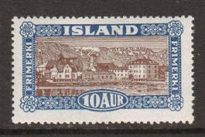 Iceland Sc 145 MLH. 1925 10a deep blue & brown, F-VF
