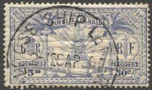 NEW HEBRIDES 1925 Sc 50, Used  VF 50c (5d) Arms, LOOSE SHIP LETTER SYDNEY cancel