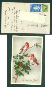 Denmark. Christmas Card 1944 With Seal + 15 Ore.Birds. Star Cancel Grinderslev