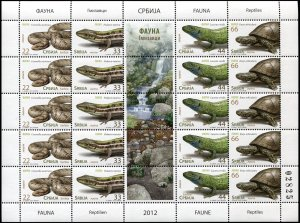 Serbia. 2012. Fauna - Reptiles (MNH OG) Miniature Sheet
