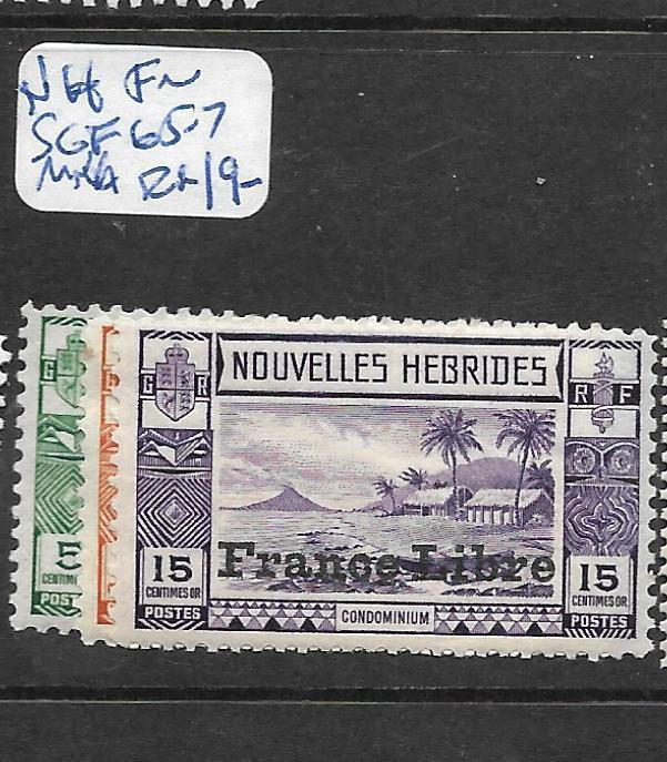FRENCH NEW HEBRIDES (PP2002B) FRANCE LIBRE SG F65-7  MNH