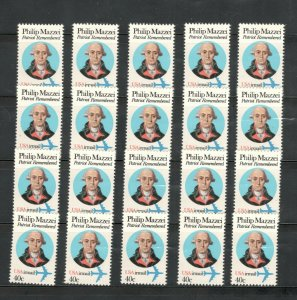 C98 Philip Mazzei Wholesale Lot Of 20 Singles Mint/nh FREE SHIPPING