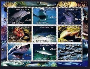 Kyrgyzstan, 2001 Cinderella issue. Marine Life sheet of 9.