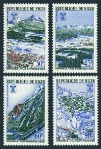 Niger 190-193,lightly hinged. Olympics Grenoble-1968.Mountains,Ski jump,Downhill