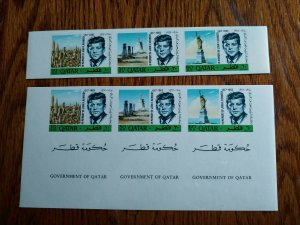 "VERY RARE QATAR 1966 ""ONLY 02 SHEETS KNOWN KENNEDY IMPERF"" STAMPS MNH COMPLETE"