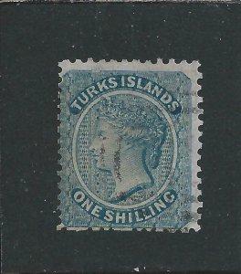 TURKS IS 1867 1s DULL BLUE GU SG 3 CAT £60